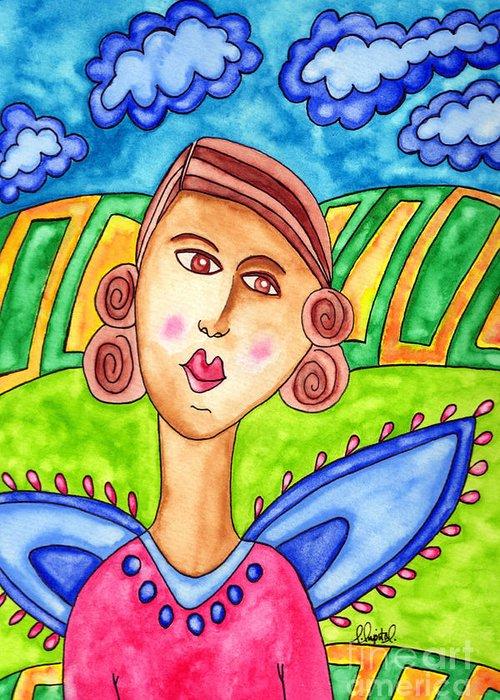 Emily Lupita Studio Greeting Card featuring the painting Lupita Portrait Amelia In Iowa by Emily Lupita Studio