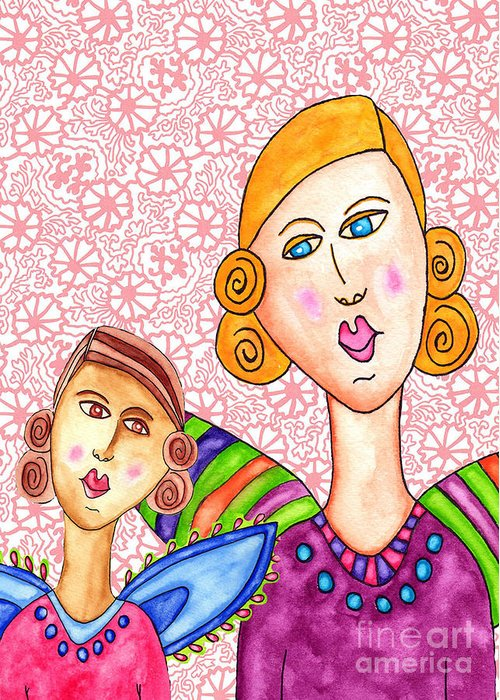 Greeting Card featuring the painting Lupita Portrait Ashley And Amelia by Emily Lupita Studio