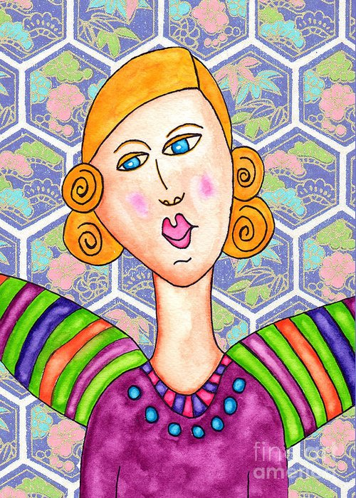 Greeting Card featuring the painting Lupita Portrait Ashley With Rainbow Wings 2 by Emily Lupita Studio
