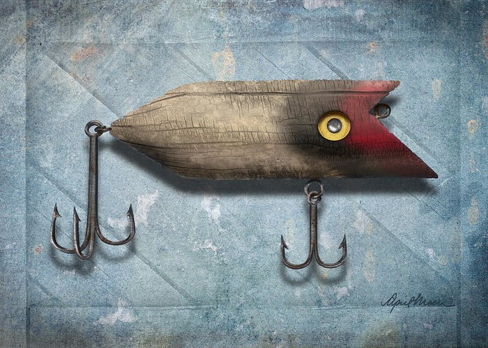 Fishing Lure Greeting Card featuring the digital art Lure II by April Moen