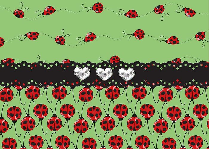 Ladybugs Greeting Card featuring the digital art Lush Ladybugs by Debra Miller