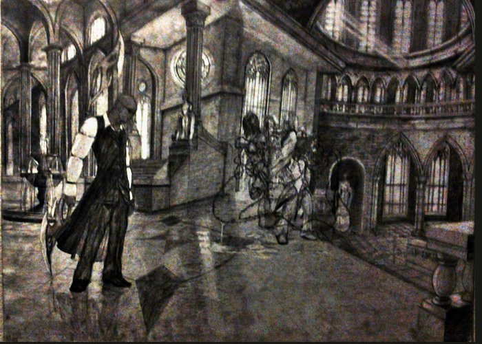 Greeting Card featuring the drawing Lust In The Temple by George Harrison