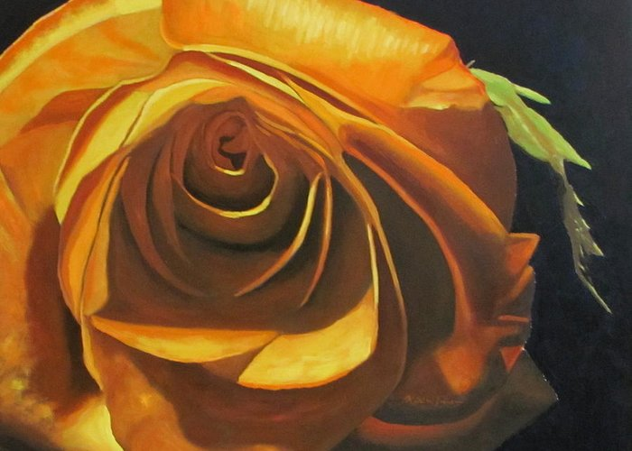 Rose Greeting Card featuring the painting Lustrous Evenesence by Keith Johnson