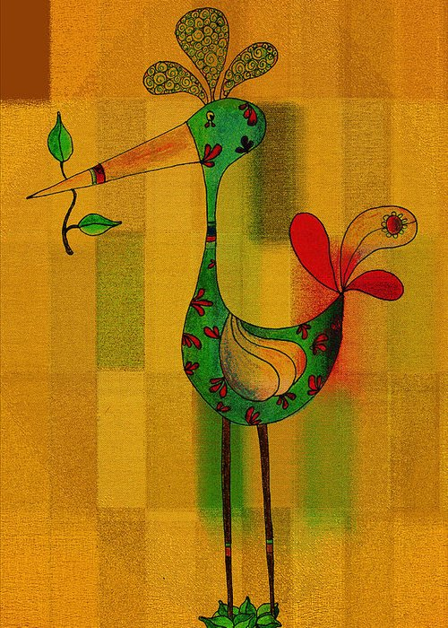 Bird Greeting Card featuring the drawing Lutgarde's Bird - 061109106-wyel by Variance Collections