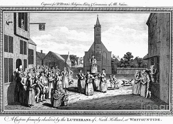 18th Century Greeting Card featuring the photograph Lutheran Wedding, 1700s by Granger