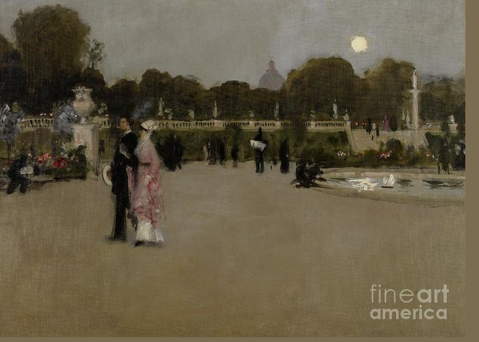Luxembourg; Paris; Parisian; France; French; Europe; European; Garden; Gardens; Park; Parks; Twilight; Evening; Dusk; Figures; Couple; Arm In Arm; Date Greeting Card featuring the painting Luxembourg Gardens At Twilight by John Singer Sargent