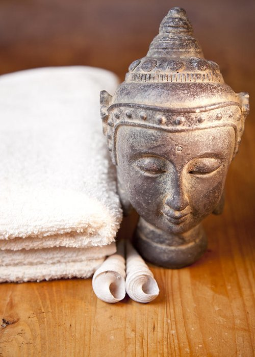 Absorb Greeting Card featuring the photograph Luxury Bath Or Shower Set With Towel Budd And Shells On Wooden Table by Gino De Graaf