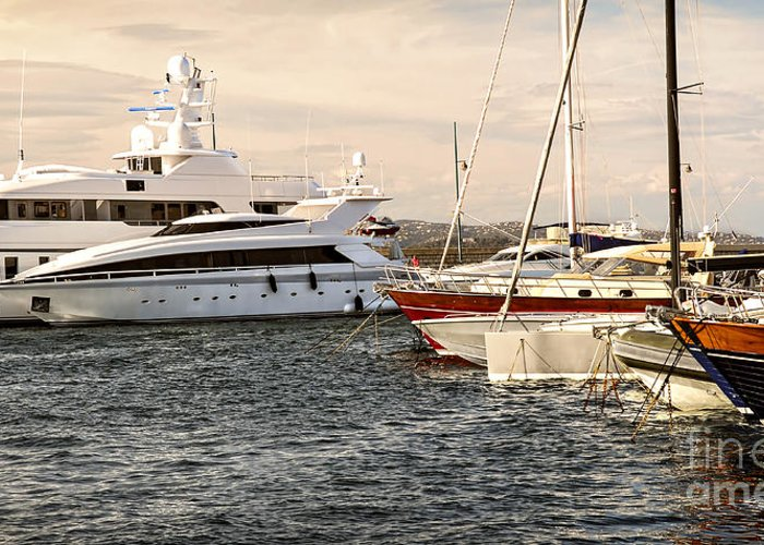 Yacht Greeting Card featuring the photograph Luxury Boats At St.tropez by Elena Elisseeva