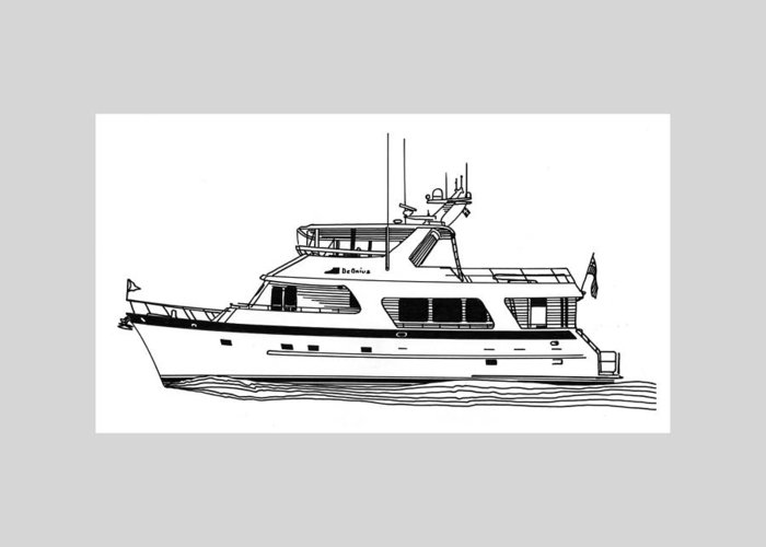 Yacht Portraits Greeting Card featuring the drawing Luxury Motoryacht by Jack Pumphrey