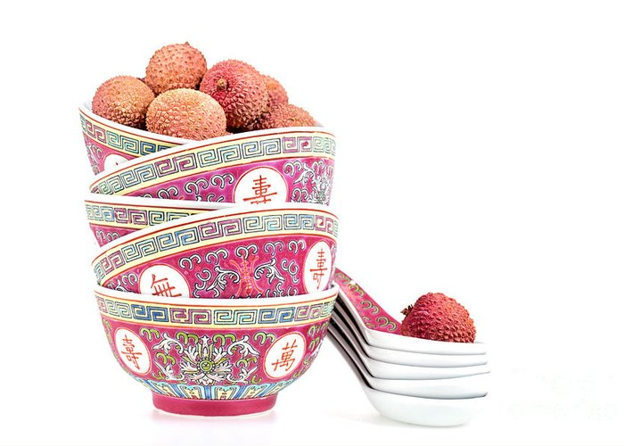 Fruit Greeting Card featuring the photograph Lychees In Bowls With Spoons by Jane Rix