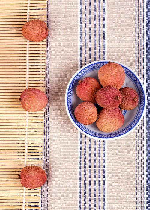 Fruit Greeting Card featuring the photograph Lychess With Bamboo Mat by Jane Rix
