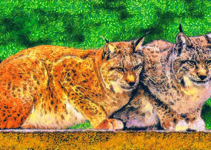 Rossidis Greeting Card featuring the painting Lynx by George Rossidis