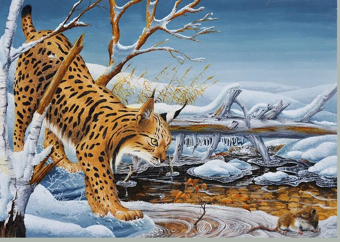 Nature Greeting Card featuring the painting Lynx by MICHAUX Michel