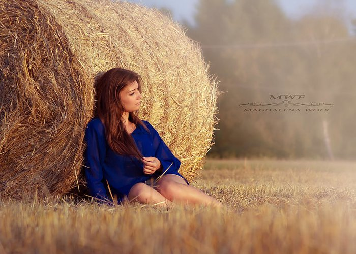 Summer Blue Woman Greeting Card featuring the photograph M by Magdalena Wolk