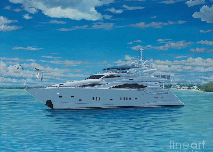 Luxury Yacht Greeting Card featuring the painting M/y Giga-btye by Danielle Perry