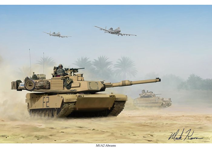 Tank Greeting Card featuring the painting M1a2 Abrams by Mark Karvon