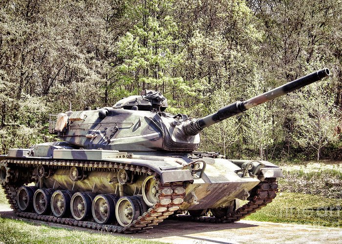 M60 Greeting Card featuring the photograph M60 Patton Tank by Olivier Le Queinec