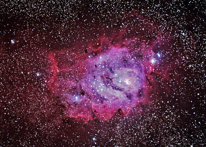 Majestic Greeting Card featuring the photograph M8--the Lagoon Nebula by A. V. Ley