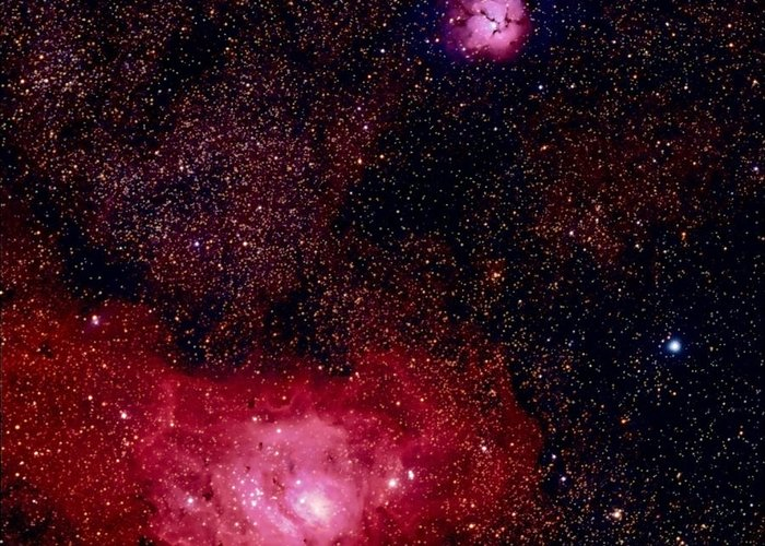 New Mexico Greeting Card featuring the photograph M8 The Lagoon Nebula And M20 The Trifid by A. V. Ley