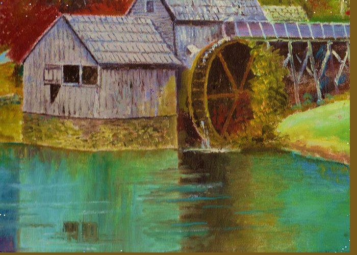 Beautiful Greeting Card featuring the painting Mabry Mill View by Anne-Elizabeth Whiteway