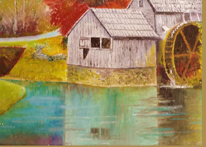 Mabry Mill Greeting Card featuring the painting Mabry Mill View II by Anne-Elizabeth Whiteway