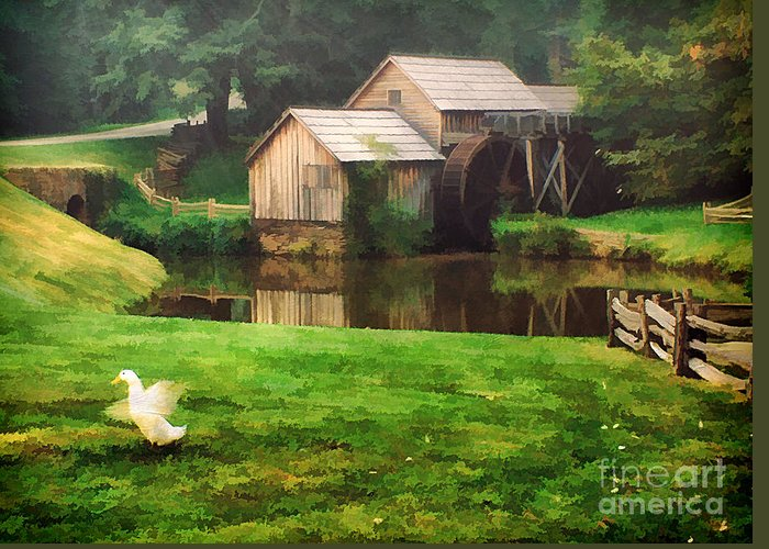 Americana Greeting Card featuring the photograph Mabrys Mill And The Welcoming Committee by Darren Fisher
