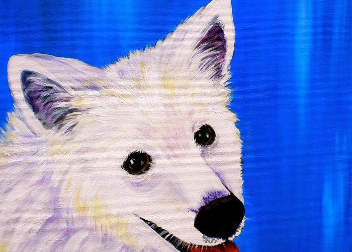 Dog Paintings Greeting Card featuring the painting Mac by Debi Starr
