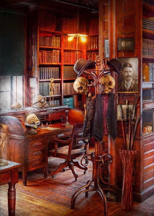 Headhunter Greeting Card featuring the photograph Macabre - In The Headhunters Study by Mike Savad