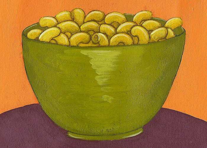 Yellow Greeting Card featuring the painting Macaroni And Cheese by Christy Beckwith