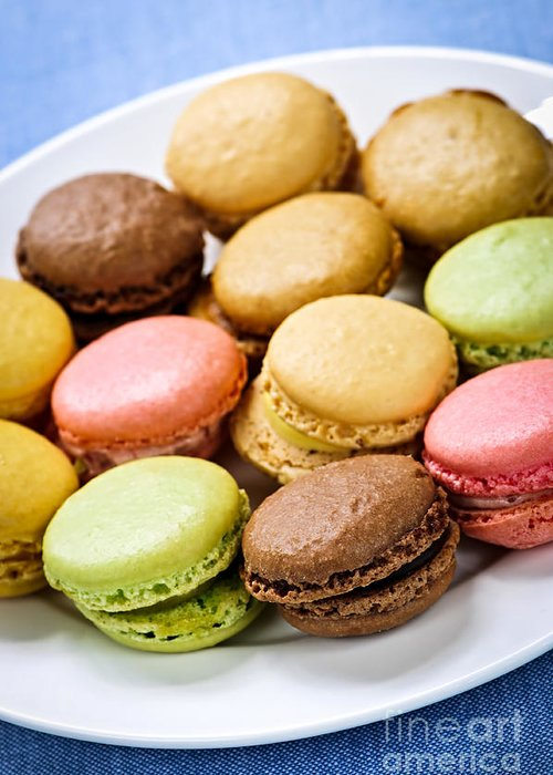 Macaroons Greeting Card featuring the photograph Macaroon Cookies by Elena Elisseeva
