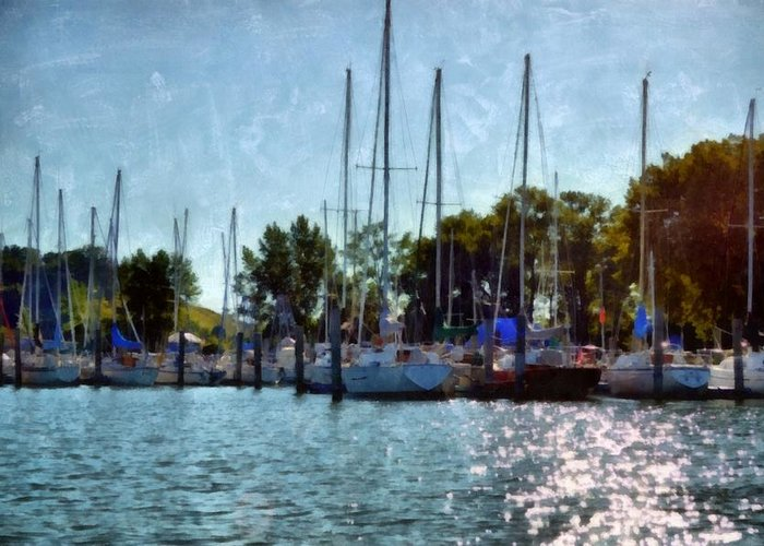 Holland Greeting Card featuring the photograph Macatawa Masts by Michelle Calkins