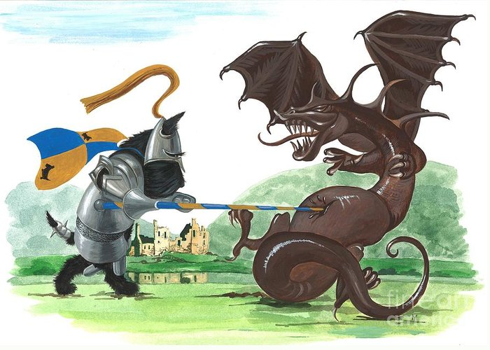 Painting Greeting Card featuring the painting Macduff And The Dragon by Margaryta Yermolayeva