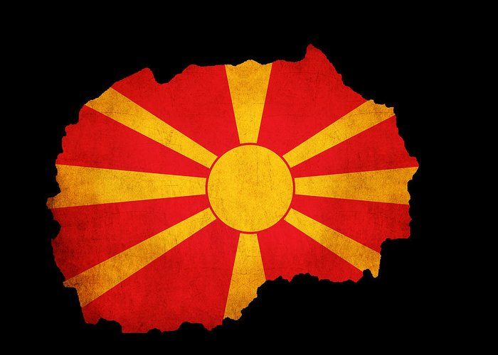 Flag Greeting Card featuring the photograph Macedonia Grunge Map Outline With Flag by Matthew Gibson