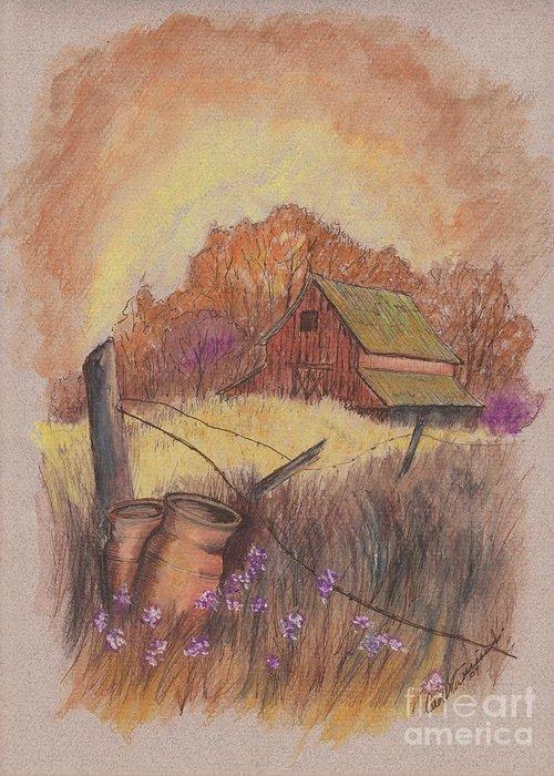 Pastel Drawing Greeting Card featuring the drawing Macgregors Barn Pstl by Carol Wisniewski