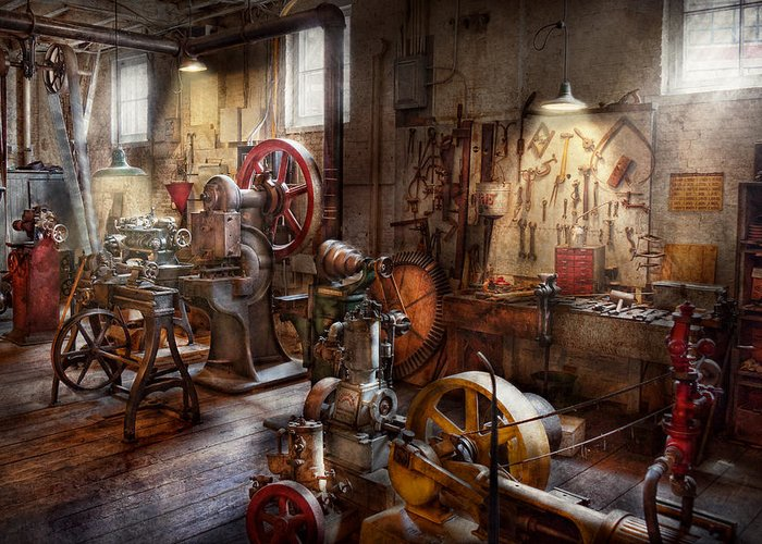 Machinist Greeting Card featuring the photograph Machinist - A Room Full Of Memories by Mike Savad