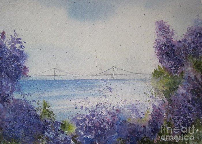 Mackinac Island Greeting Card featuring the painting Mackinac Island Lilacs by Sandra Strohschein