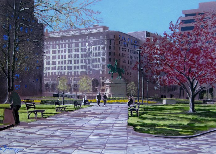 Cityscape Paintings Paintings Greeting Card featuring the painting Macpherson Squared by David Zimmerman