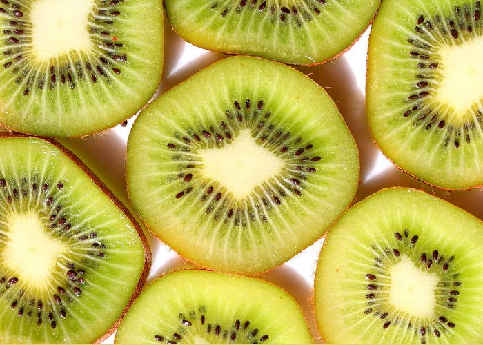 Kiwi Photo Greeting Card featuring the photograph Macro Kiwi by Susan Moore