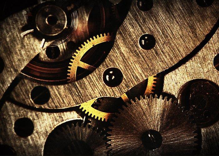 Clock Greeting Card featuring the pyrography Macro Mechanic by Svetoslav Sokolov
