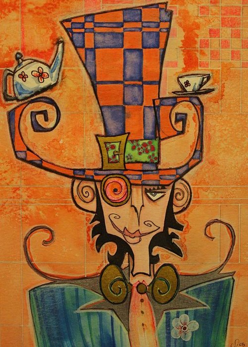 Mad Hatter Greeting Card featuring the drawing Mad Hatter by Ellen Henneke