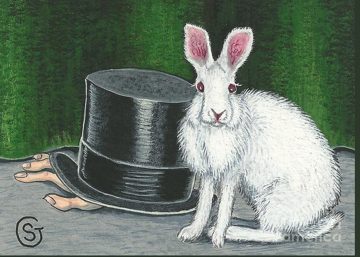Rabbit Greeting Card featuring the painting Mad March Hare -- Now You See How It Feels by Sherry Goeben