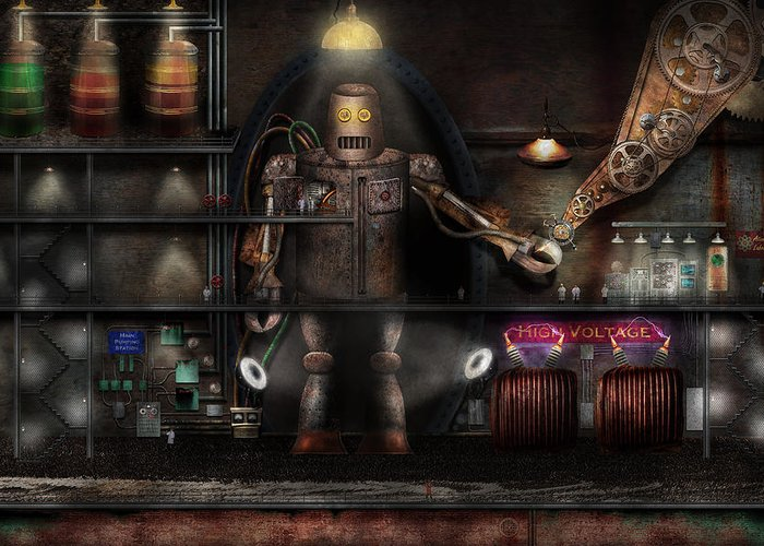 Robot Greeting Card featuring the photograph Mad Scientist - The Enforcer by Mike Savad