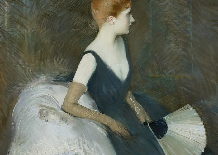 Female; Portrait; Profile; Three-quarter Length; Marthe Letellier; Fan; Sofa; Couch; Leaning; Seated; Evening Dress; Gloves; French Greeting Card featuring the pastel Madame Marthe Letellier Sitting On A Sofa by Paul Cesar Helleu