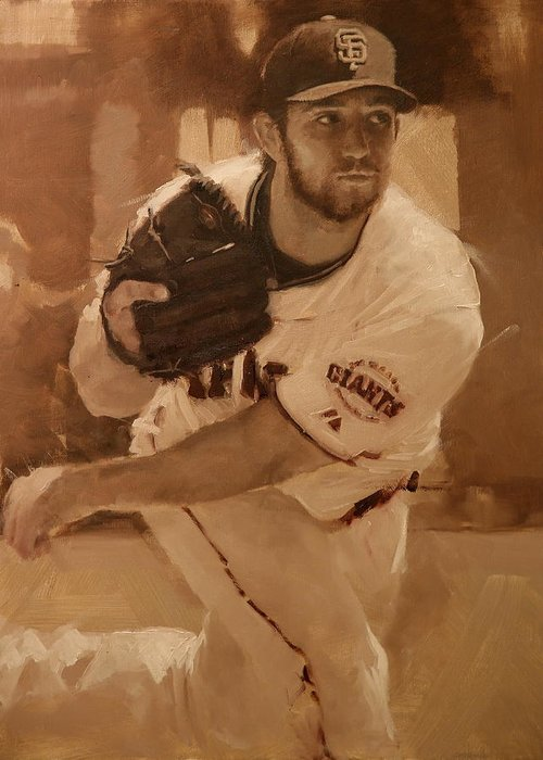 Madison Bumgarner Greeting Card featuring the painting Madbum 2012 by Darren Kerr