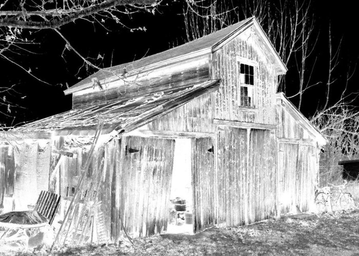 Barn Greeting Card featuring the photograph Madeline S Barn - Black And White by Nina-Rosa Duddy