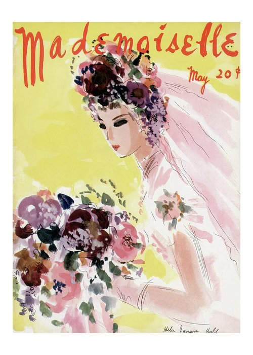 Illustration Greeting Card featuring the photograph Mademoiselle Cover Featuring A Bride by Helen Jameson Hall
