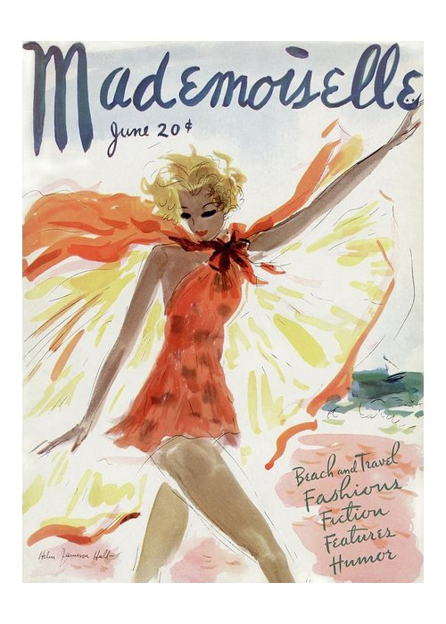 Illustration Greeting Card featuring the photograph Mademoiselle Cover Featuring A Model At The Beach by Helen Jameson Hall