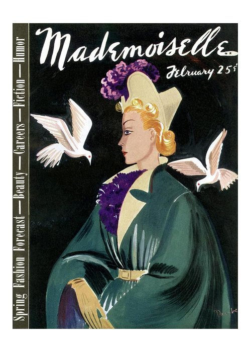 Fashion Greeting Card featuring the photograph Mademoiselle Cover Featuring A Model In A Green by Elizabeth Dauber