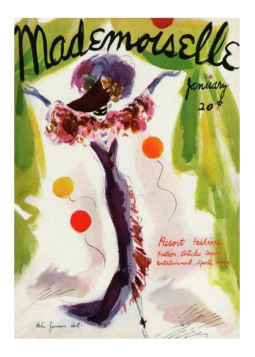 Illustration Greeting Card featuring the photograph Mademoiselle Cover Featuring A Model Wearing by Helen Jameson Hall