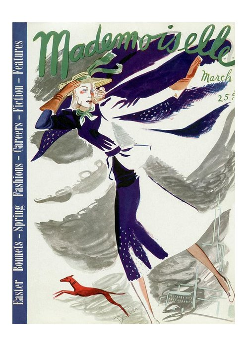 Fashion Greeting Card featuring the photograph Mademoiselle Cover Featuring A Model With A Dog by Elizabeth Dauber